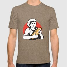 Baker Holding Bread Loaf Retro Mens Fitted Tee Tri-Coffee SMALL