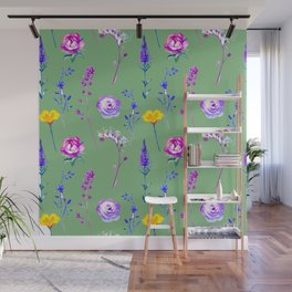 Violet lilac blue modern watercolor floral Wall Mural