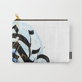 Abstract Calligraphy artwork. Black letters on blue brush strokes. Carry-All Pouch