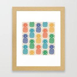 Retro Mid Century Modern Pineapple Pattern in Multi Colors Framed Art Print