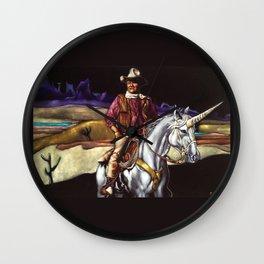 Black Velvet John Wayne Riding a Unicorn Wall Clock