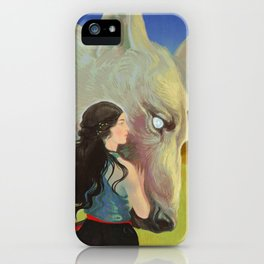 Giant Wolf Guardian and Elven Princess iPhone Case