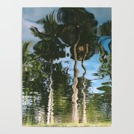 Palm trees mirrored on the water Poster