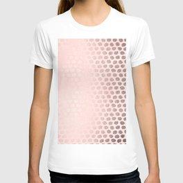 Rose Gold Pastel Pink Foil Paint Line Dots XVII T-shirt