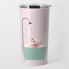 Baby Pink Pig Enjoying Bubble Bath Travel Mug