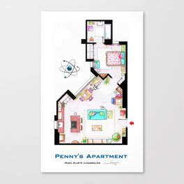 Penny's apartment floorplan from TBBT Canvas Print