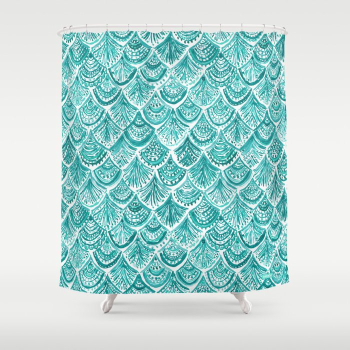 AQUA LIKE A MERMAID Fish Scales Shower Curtain
