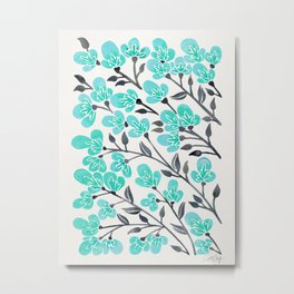 Cherry Blossoms – Turquoise & Black Palette Metal Print