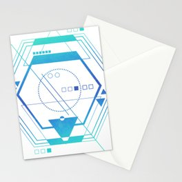 Geometric galaxy futuristic blue cool Stationery Cards