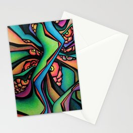 Abstract Intertwining green Stationery Cards