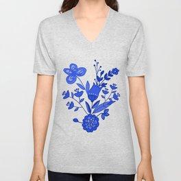 Blue &White Floral Unisex V-Neck