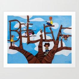 BELIEVE tree Art Print
