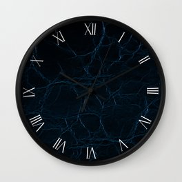 Dark blue leather textured abstract Wall Clock