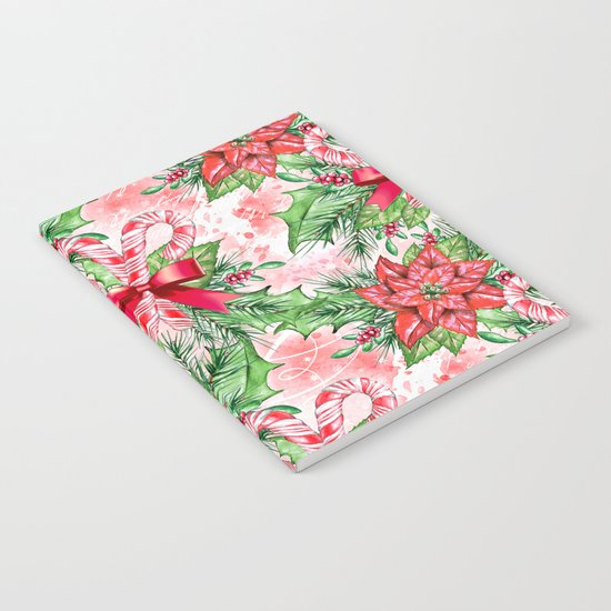 Poinsettia & Candy cane Notebook