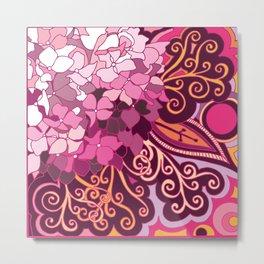zentangle inspired Hortensia_rose pink doodle Metal Print