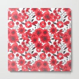 Red flowers pattern 4 Metal Print
