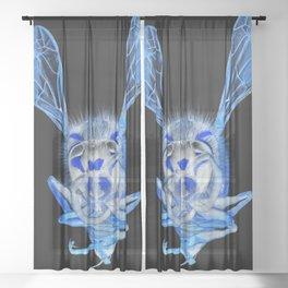 Blue Wasp Sheer Curtain