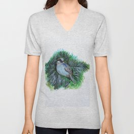 New York Winte Sparrow Unisex V-Neck