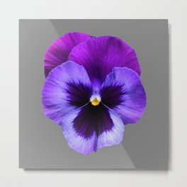 GREY MODERN ART SINGLE PURPLE PANSY Metal Print