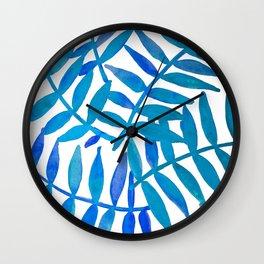 Leaf Decor :Blue Wall Clock
