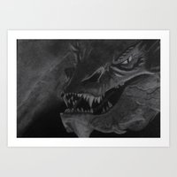 smaug Art Prints featuring Smaug by Rebecca D