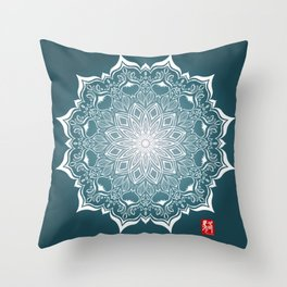 Mandala - Blue Throw Pillow