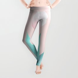 Stellar Agave and Full Moon - pastel aqua and pink Leggings