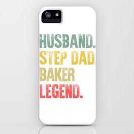 Funny Men Vintage T Shirt Husband Step Dad Baker Legend iPhone Case