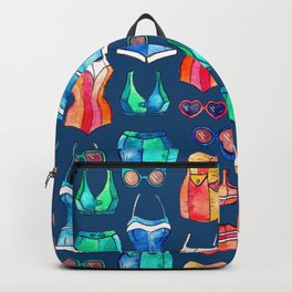 Sixties Swimsuits and Sunnies on dark blue Backpack