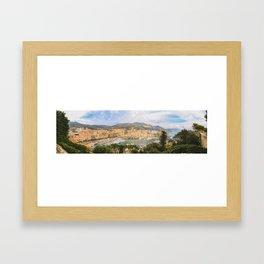 Panoramic view of the Port Hercule in the center of the Principality of Monaco Framed Art Print