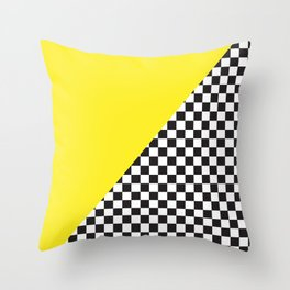 Checkered Flag Pattern Print with Neon Bright Yellow Throw Pillow