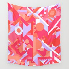 GEOMETRY SHAPES PATTERN PRINT (WARM RED LAVENDER COLOR SCHEME) Wall Tapestry