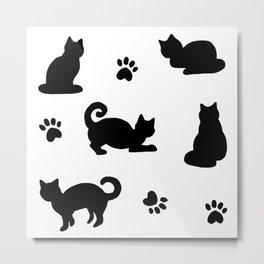 Black Cats and Paw Prints Pattern Metal Print