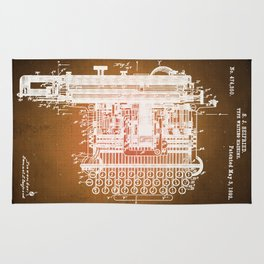 Type Writing Machine Patent Blueprint Drawings Sepia Rug