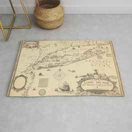 1925 Vintage Historical Map of Long Island and the Sound Rug