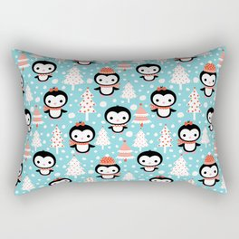 Cute and fun winter penguins and Christmas trees Rectangular Pillow