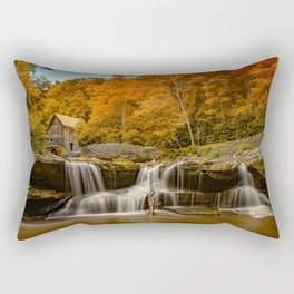 Photo USA water mill Glade Creek Grist Mill, Babcock State Park, West Virginia Autumn Nature Waterfalls river Watermill Rivers Rectangular Pillow