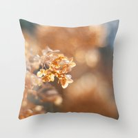 gold glitter Throw Pillows featuring Gold Glitter by Katie Kirkland