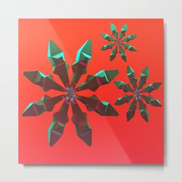 Snowflakes (green and red) Metal Print