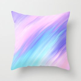 Girly Modern Pink Blue Purple Paint Smudges Throw Pillow