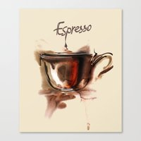 coffe Canvas Prints featuring coffe by tatiana-teni