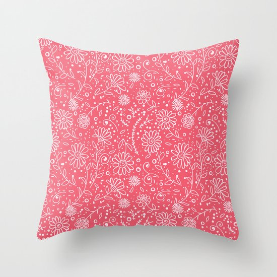 Red doodle floral pattern Throw Pillow