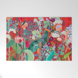 Red floral Jungle Garden Botanical featuring Proteas, Reeds, Eucalyptus, Ferns and Birds of Paradise Welcome Mat