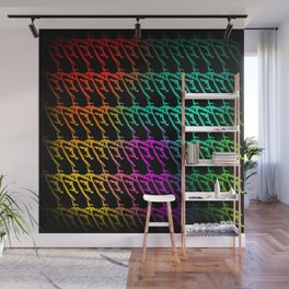 Interweaving pattern of neon squiggles and gold ropes on a black background. Wall Mural