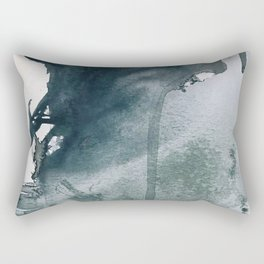 Lakeside: a minimal, abstract, watercolor and ink piece in shades of blue and green Rectangular Pillow