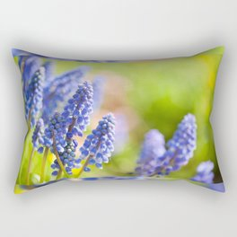 Blue Muscari Mill flowers close-up in the spring Rectangular Pillow