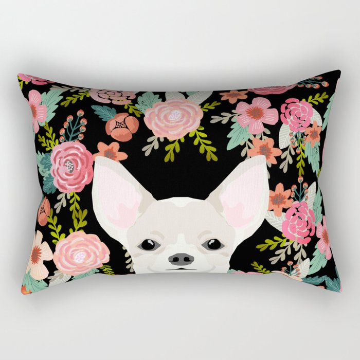 Chihuahua face floral dog breed cute pet gifts pure breed dog lovers chihuahuas Rectangular Pillow