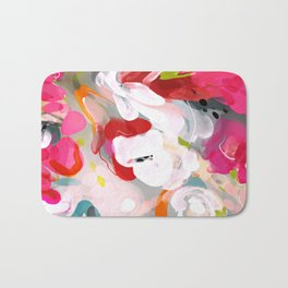 Dream flowers in pink rose floral abstract art Bath Mat