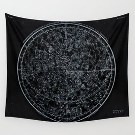 Northern Hemisphere Constellations White Blue Wall Tapestry