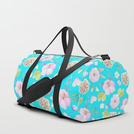 Artist hand painted pink lavender teal watercolor floral Duffle Bag
